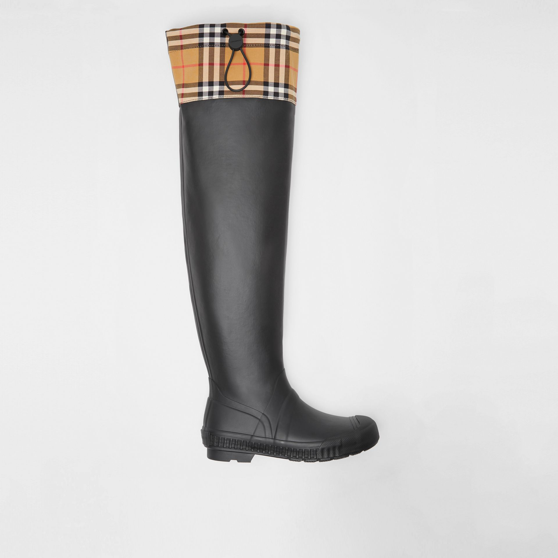 Vintage Check and Rubber Knee-high Rain Boots in Black - Women | Burberry - gallery image 0