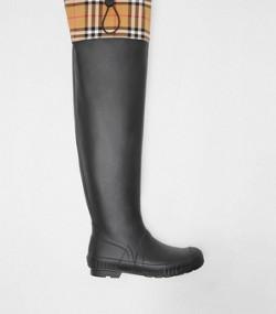 8ef6b790ec5 Bottes de pluie en caoutchouc et à motif Vintage check (Noir)