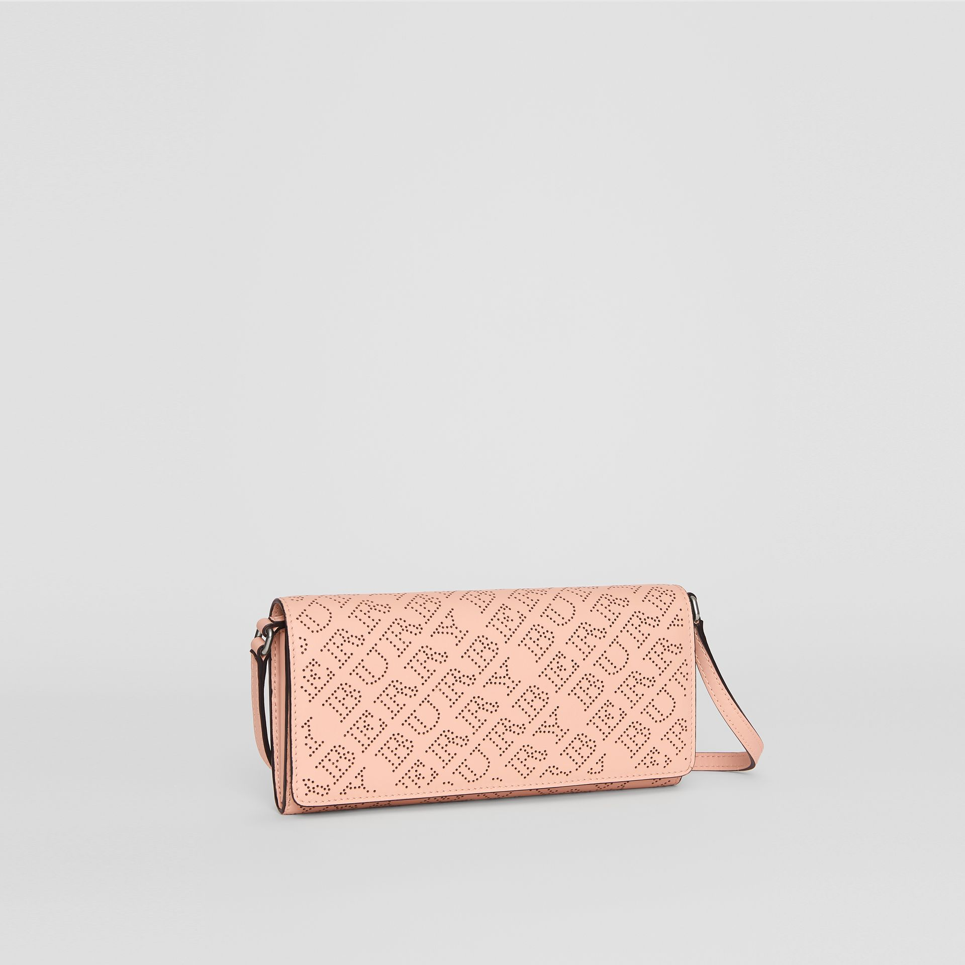 Perforated Logo Leather Wallet with Detachable Strap in Pale Fawn Pink - Women | Burberry - gallery image 6