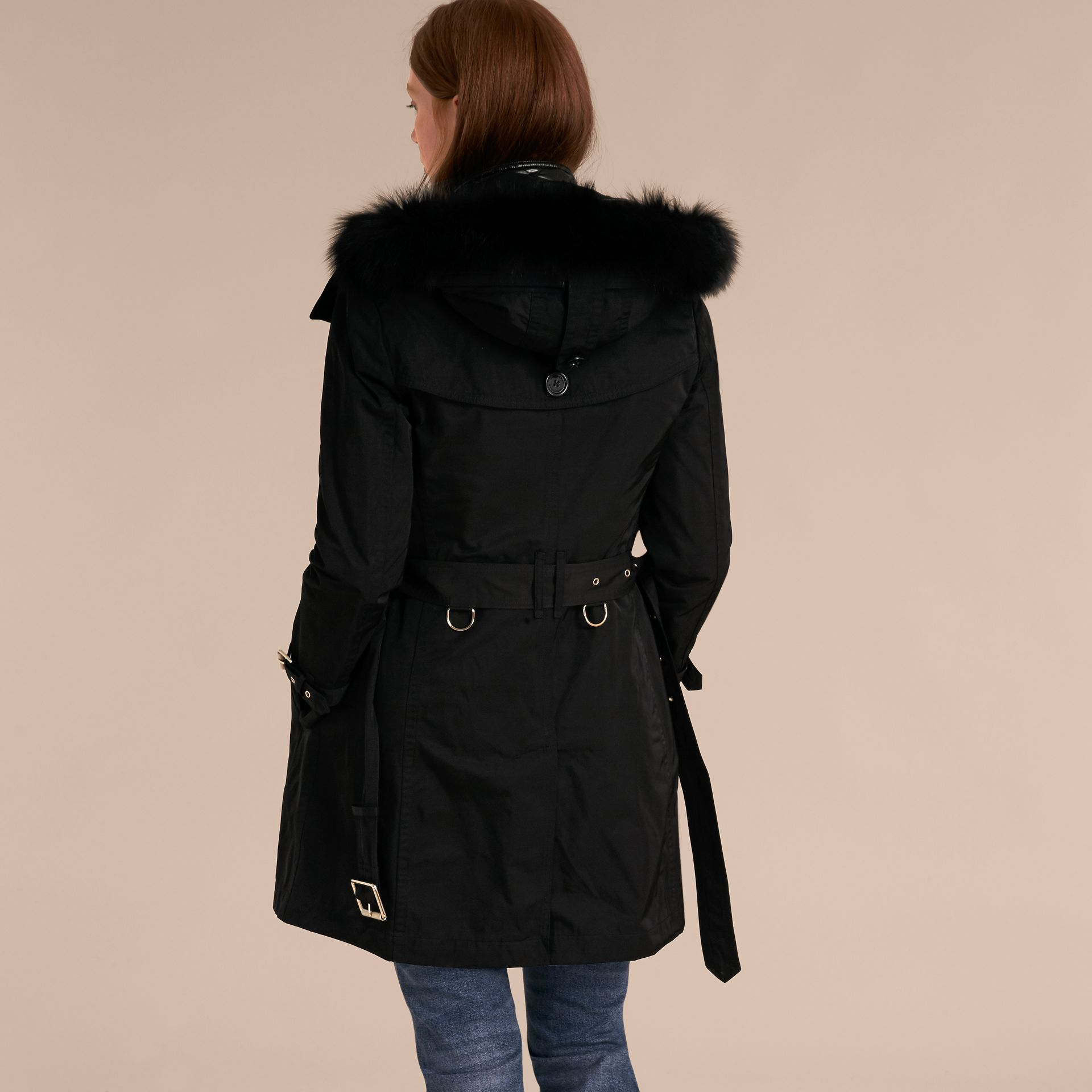 Black Fur-trimmed Hood Trench Coat with Detachable Gilet Black - gallery image 3