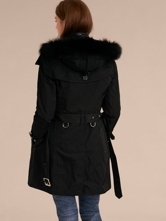 Black Fur-trimmed Hood Trench Coat with Detachable Gilet Black - cell image 2
