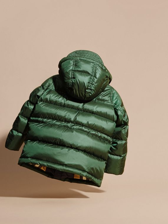 Deep bottle green Down-Filled Hooded Puffer Coat Deep Bottle Green - cell image 3