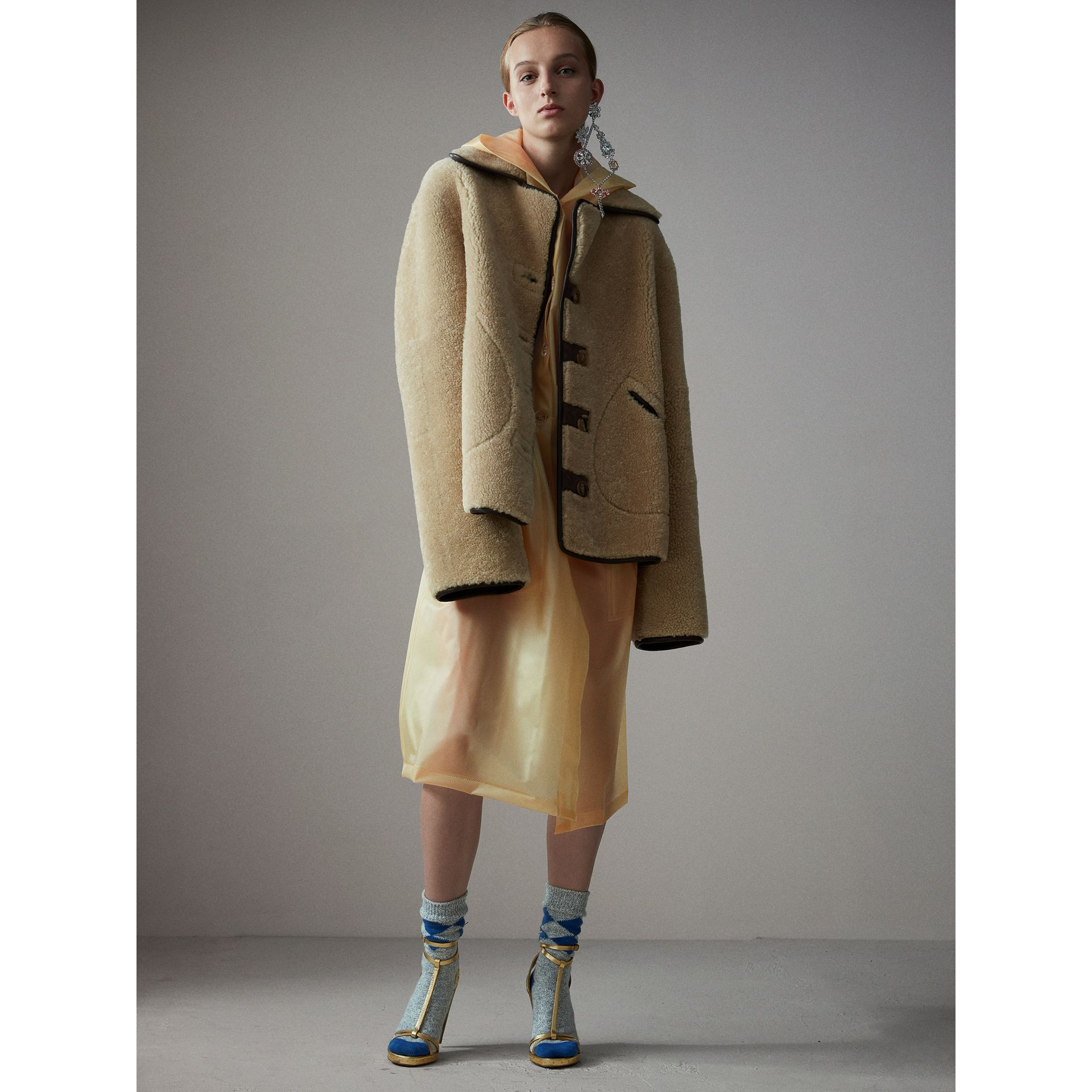 Shearling and Lambskin Jacket in Chocolate/light Citrus - Women | Burberry - gallery image 6