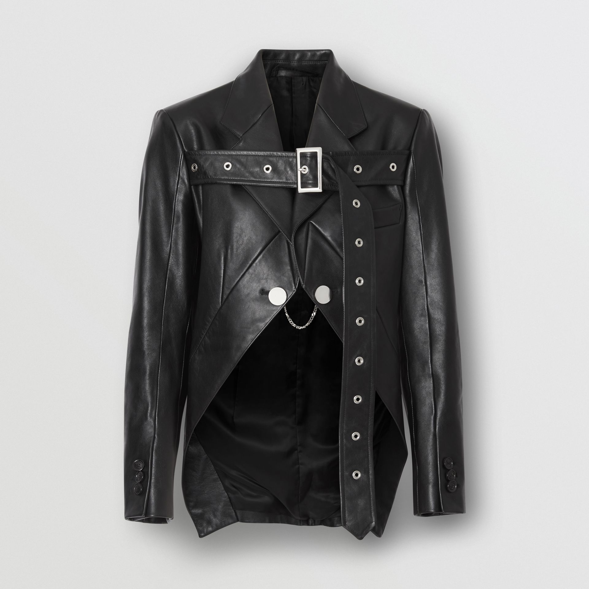 Biker Belt Detail Leather Morning Jacket in Black - Women | Burberry United States - gallery image 3