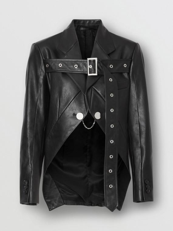 Biker Belt Detail Leather Morning Jacket in Black