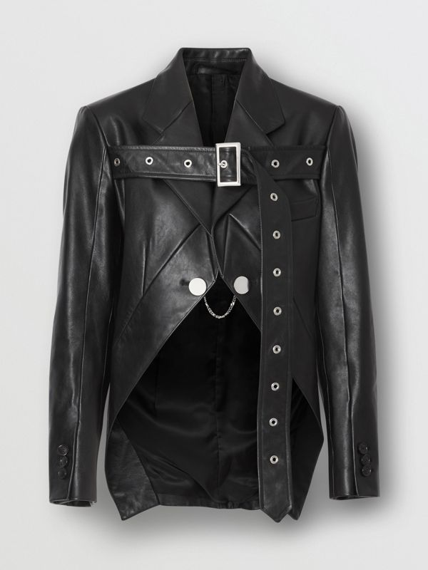 Biker Belt Detail Leather Morning Jacket in Black - Women | Burberry - cell image 3