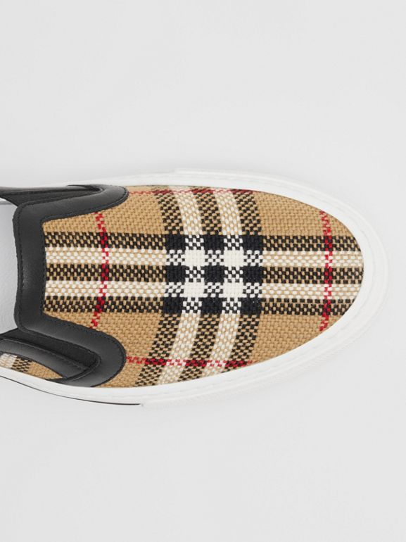 Vintage Check and Leather Slip-on Sneakers in Archive Beige - Women | Burberry - cell image 1