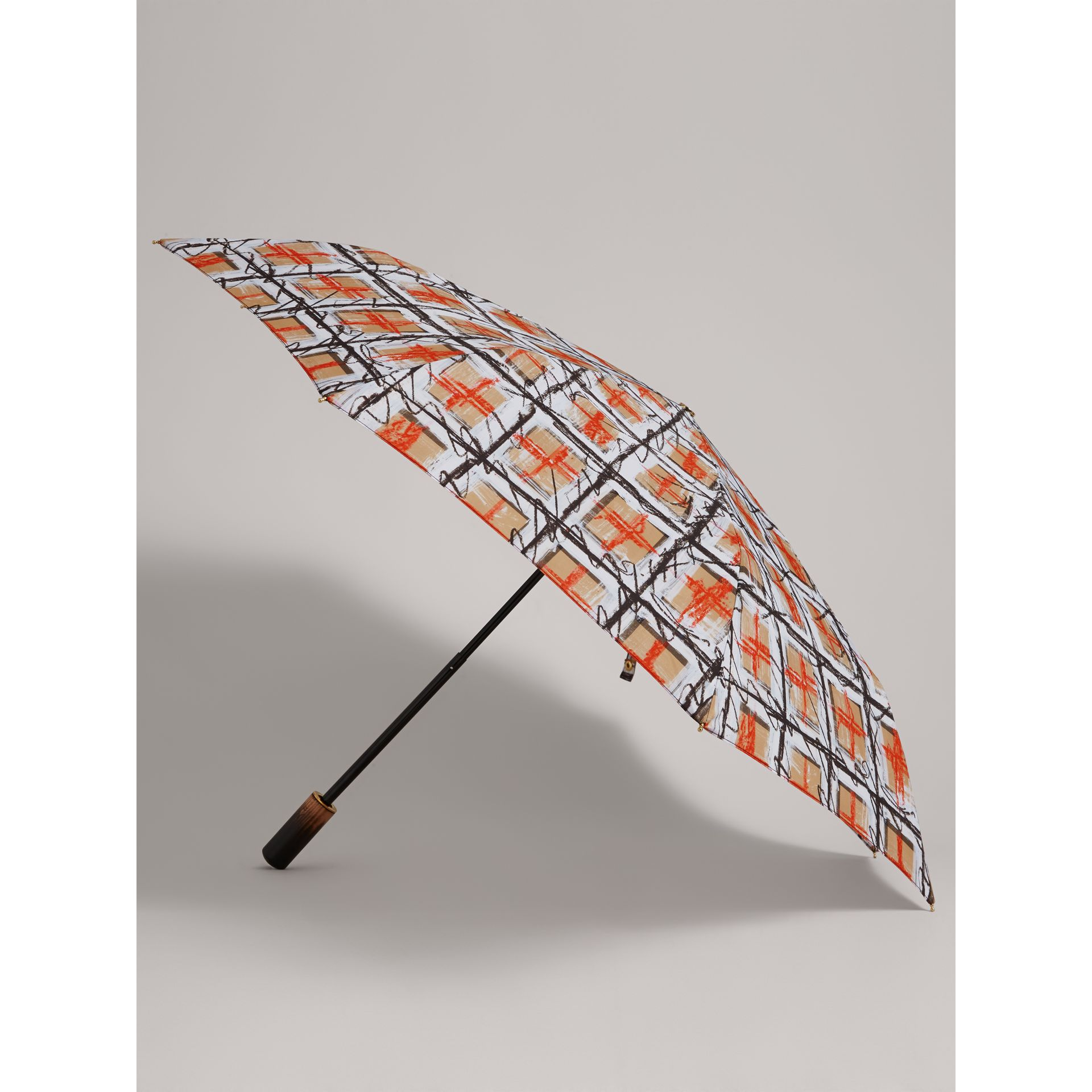 Scribble Check Folding Umbrella in Honey | Burberry - gallery image 3
