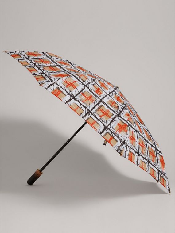 Scribble Check Folding Umbrella in Honey | Burberry - cell image 3