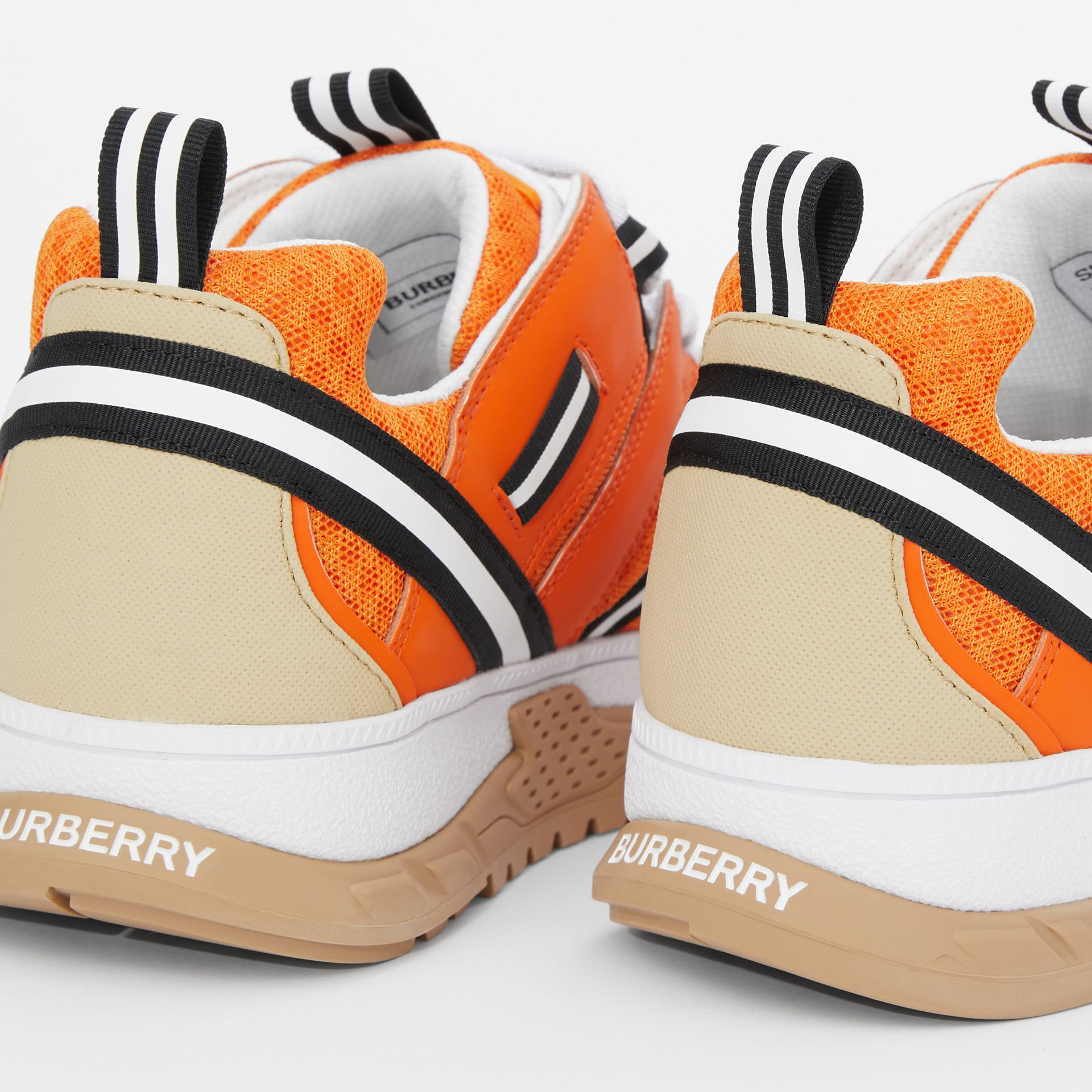 Leather and Mesh Union Sneakers in Bright Orange - Children | Burberry United States - gallery image 1