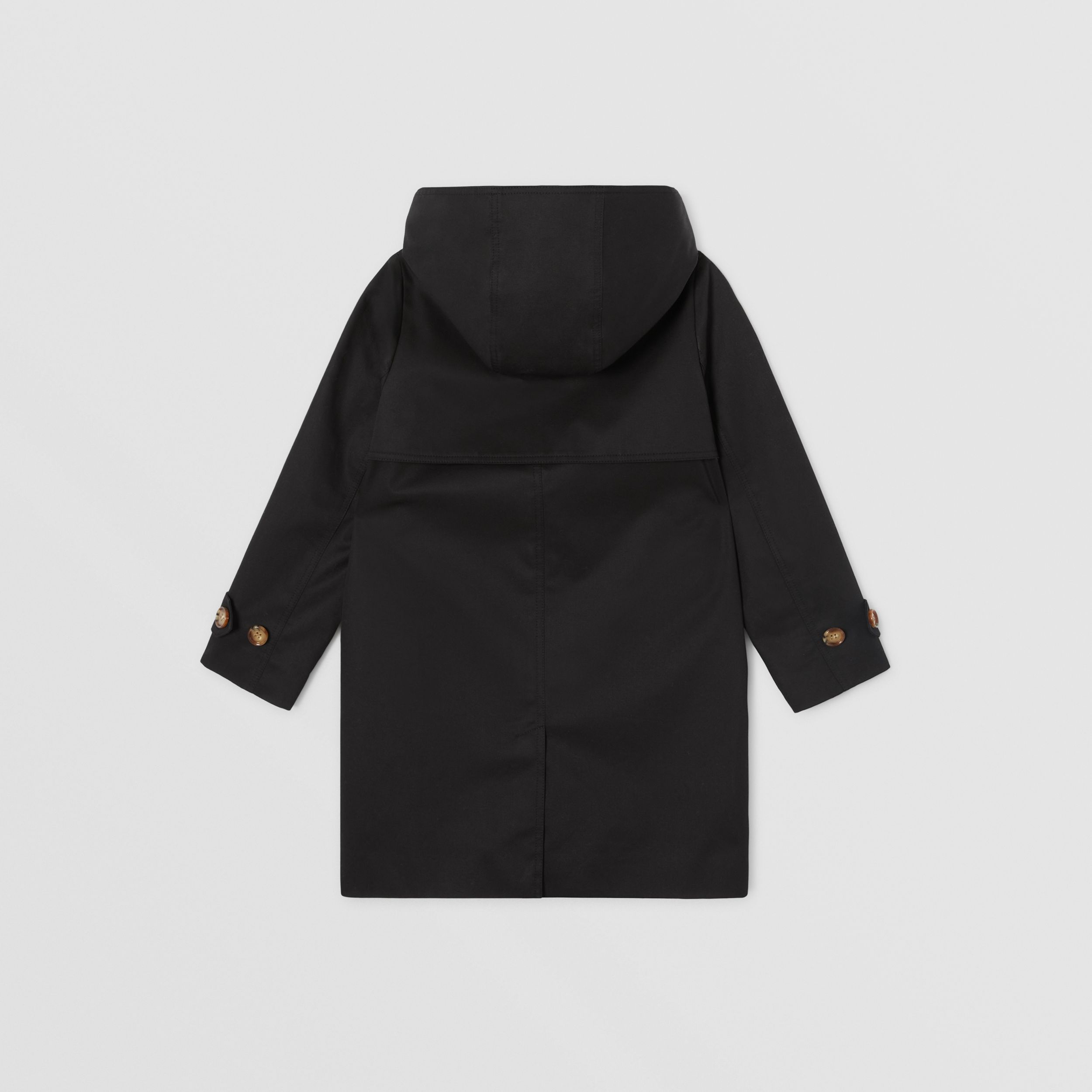 Detachable Hood Icon Stripe Trim Cotton Car Coat in Black | Burberry United Kingdom - 4