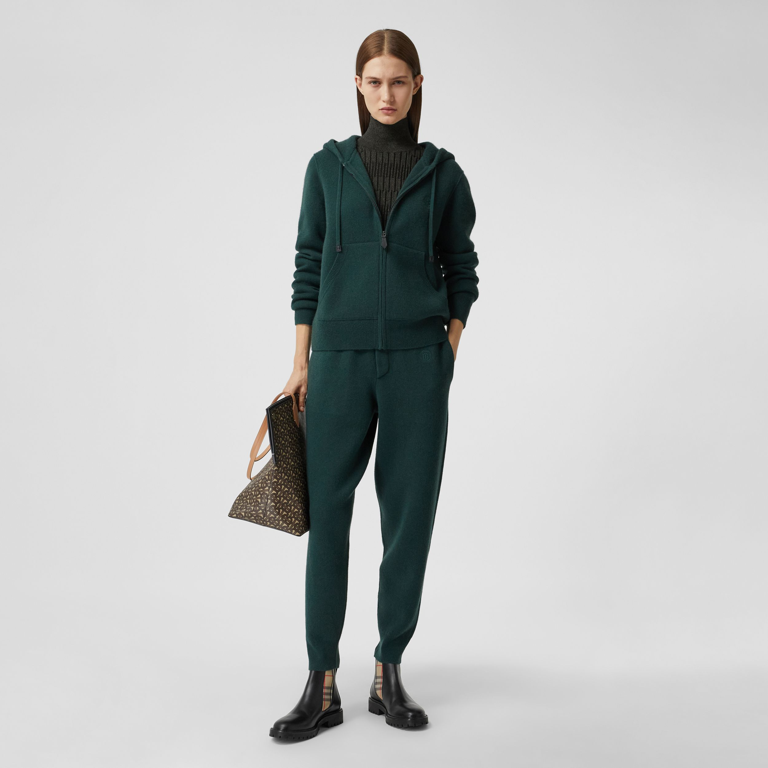 Monogram Motif Cashmere Blend Hooded Top in Bottle Green - Women | Burberry - 1