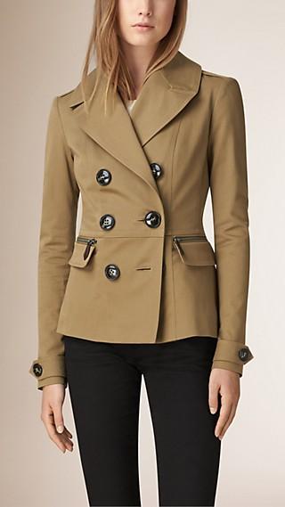 Pea coat corto in twill di cotone stretch