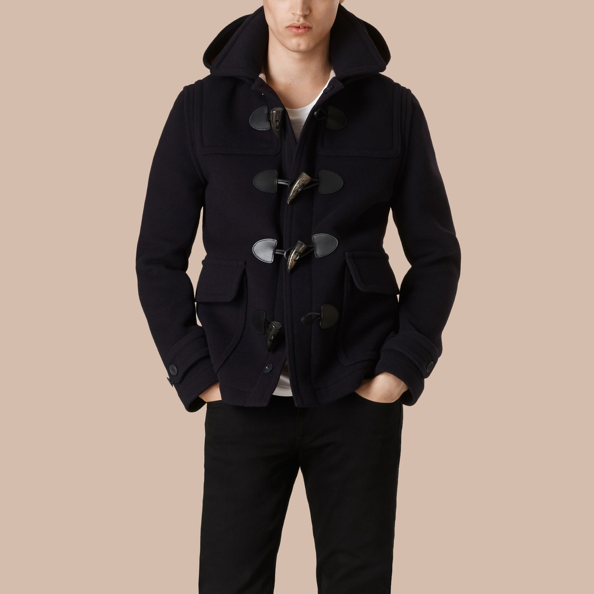 Navy Wool Duffle Jacket with Detachable Hood - gallery image 4