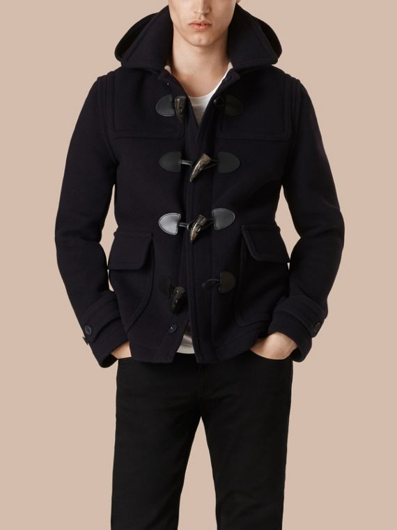 Navy Wool Duffle Jacket with Detachable Hood - cell image 3