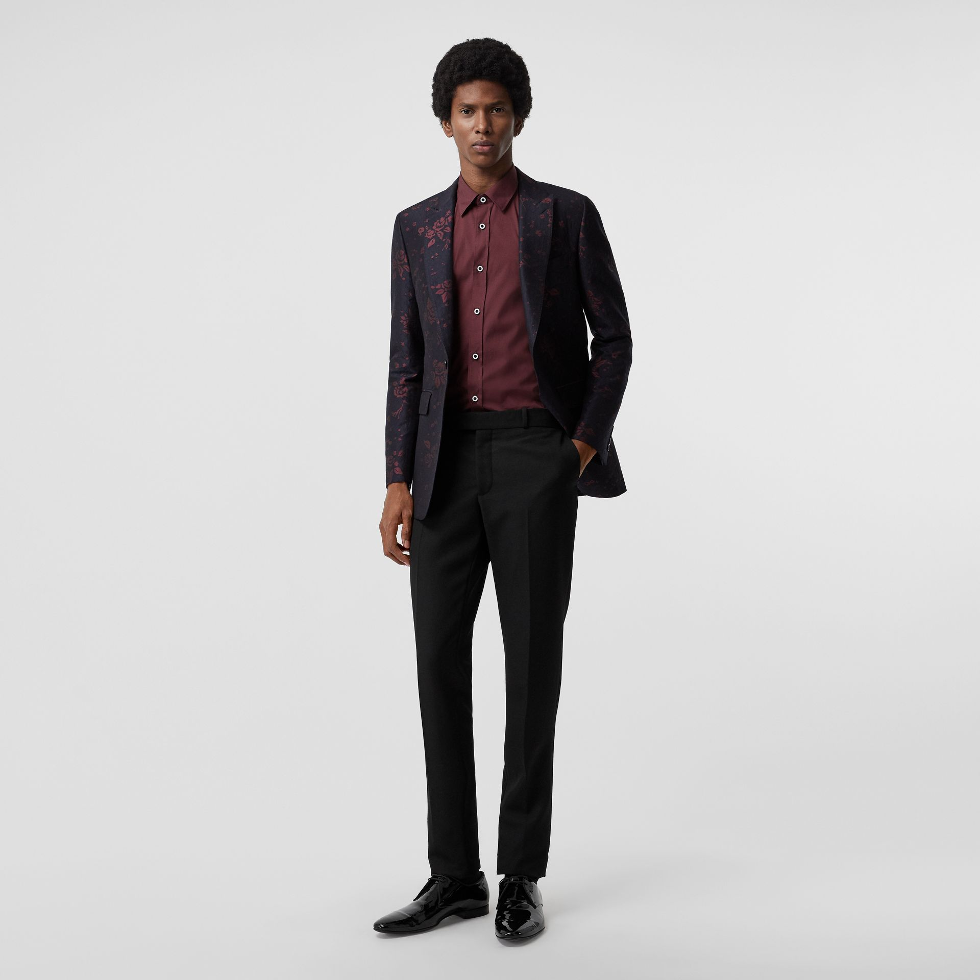 Contrast Button Stretch Cotton Shirt in Oxblood - Men | Burberry - gallery image 4