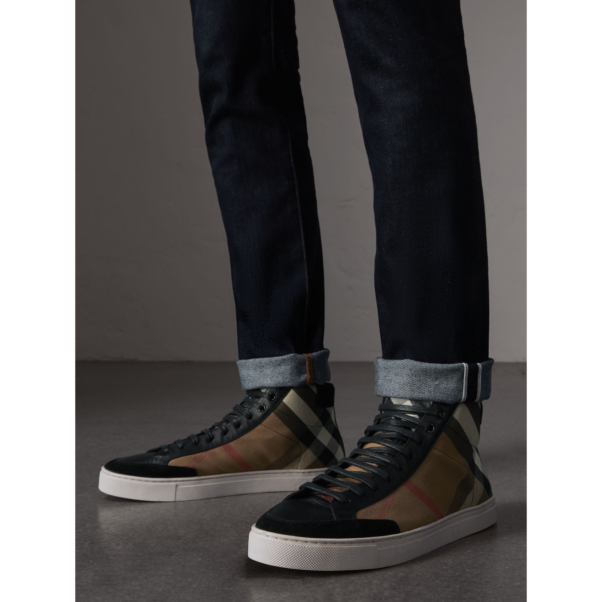 House Check and Leather High-top Trainers in Black - Men | Burberry - gallery image 3