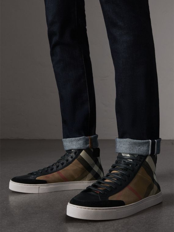 House Check and Leather High-top Trainers in Black - Men | Burberry Canada - cell image 2