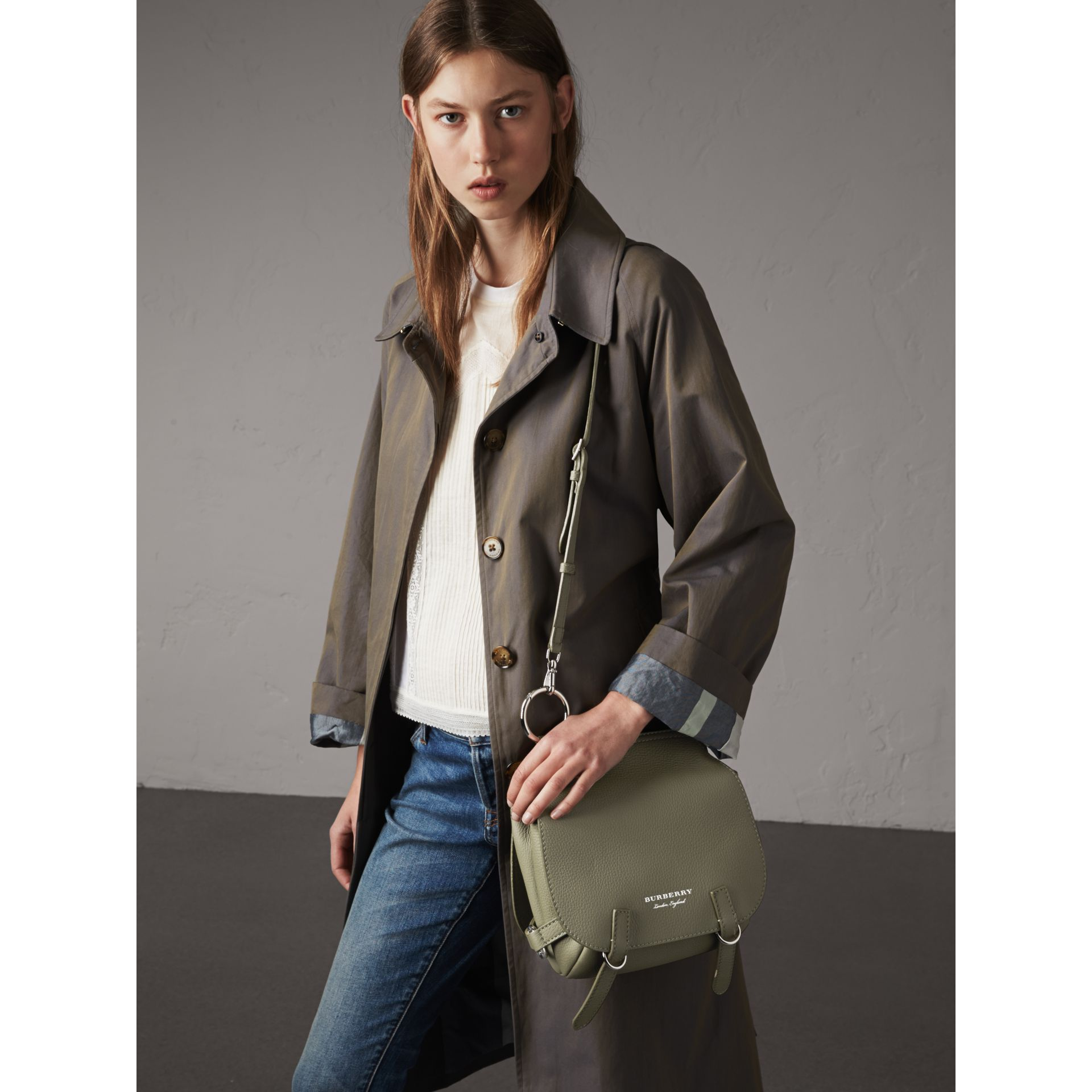 The Bridle Bag in Deerskin in Slate Green - Women | Burberry Australia - gallery image 4