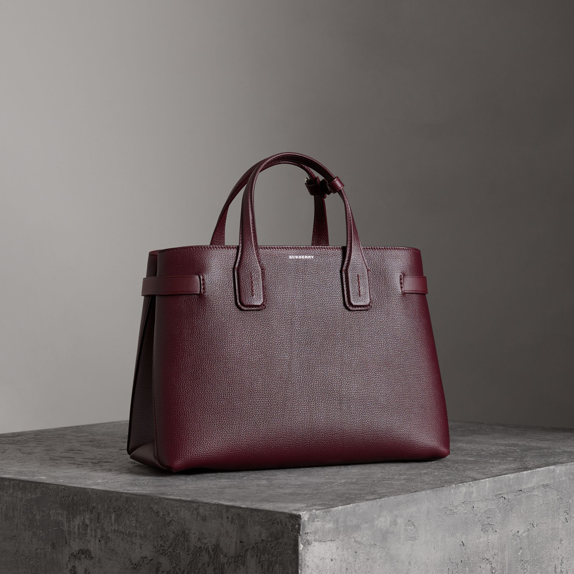 The Medium Banner in Leather and Vintage Check in Mahogany Red - Women | Burberry Canada - gallery image 0
