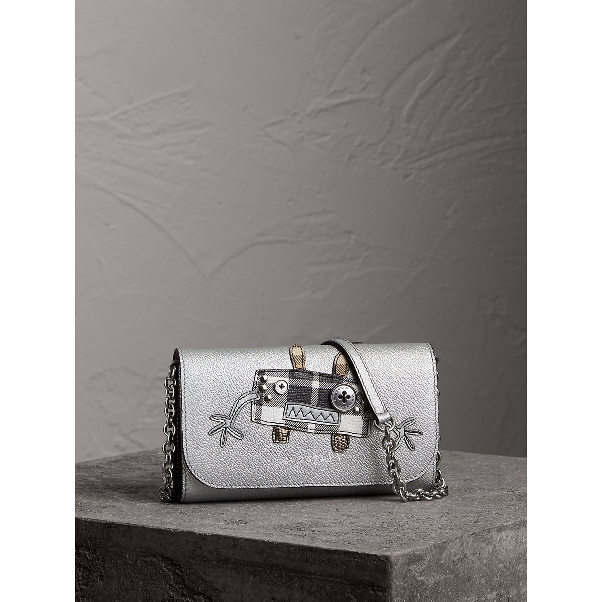 Creature Appliqué Metallic Leather Wallet with Chain in Silver/multicolour - Women | Burberry - gallery image 0