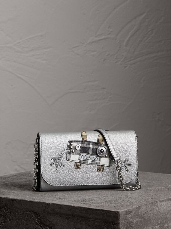 Creature Appliqué Metallic Leather Wallet with Chain in Silver/multicolour