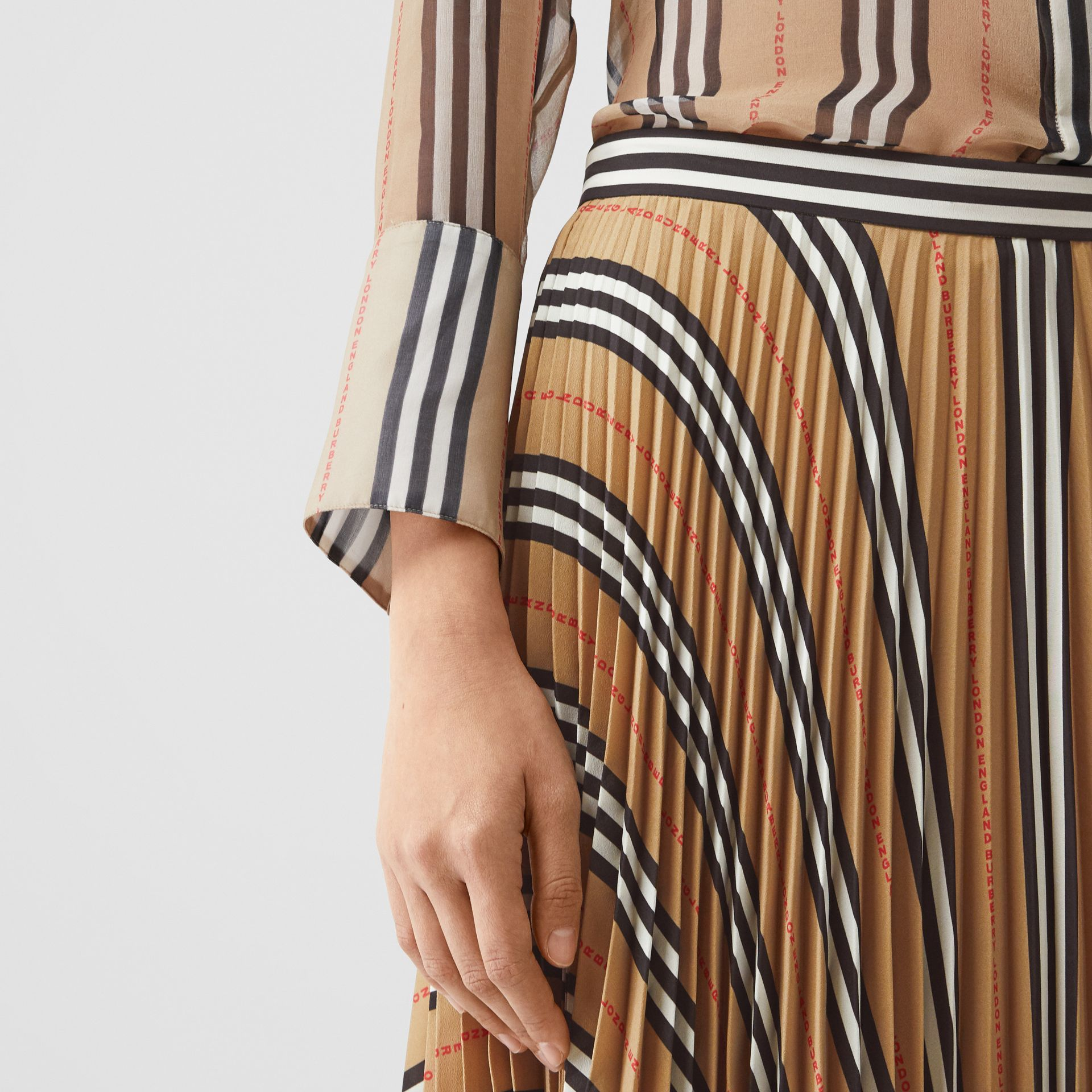 Logo and Stripe Print Crepe Pleated Skirt in Archive Beige - Women | Burberry - gallery image 1