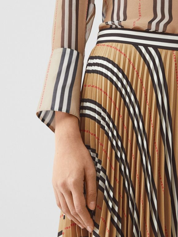 Logo and Stripe Print Crepe Pleated Skirt in Archive Beige - Women | Burberry - cell image 1