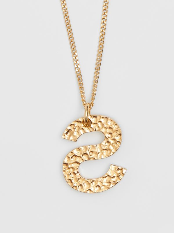 'S' Alphabet Charm Gold-plated Necklace in Light - Women | Burberry United Kingdom - cell image 3