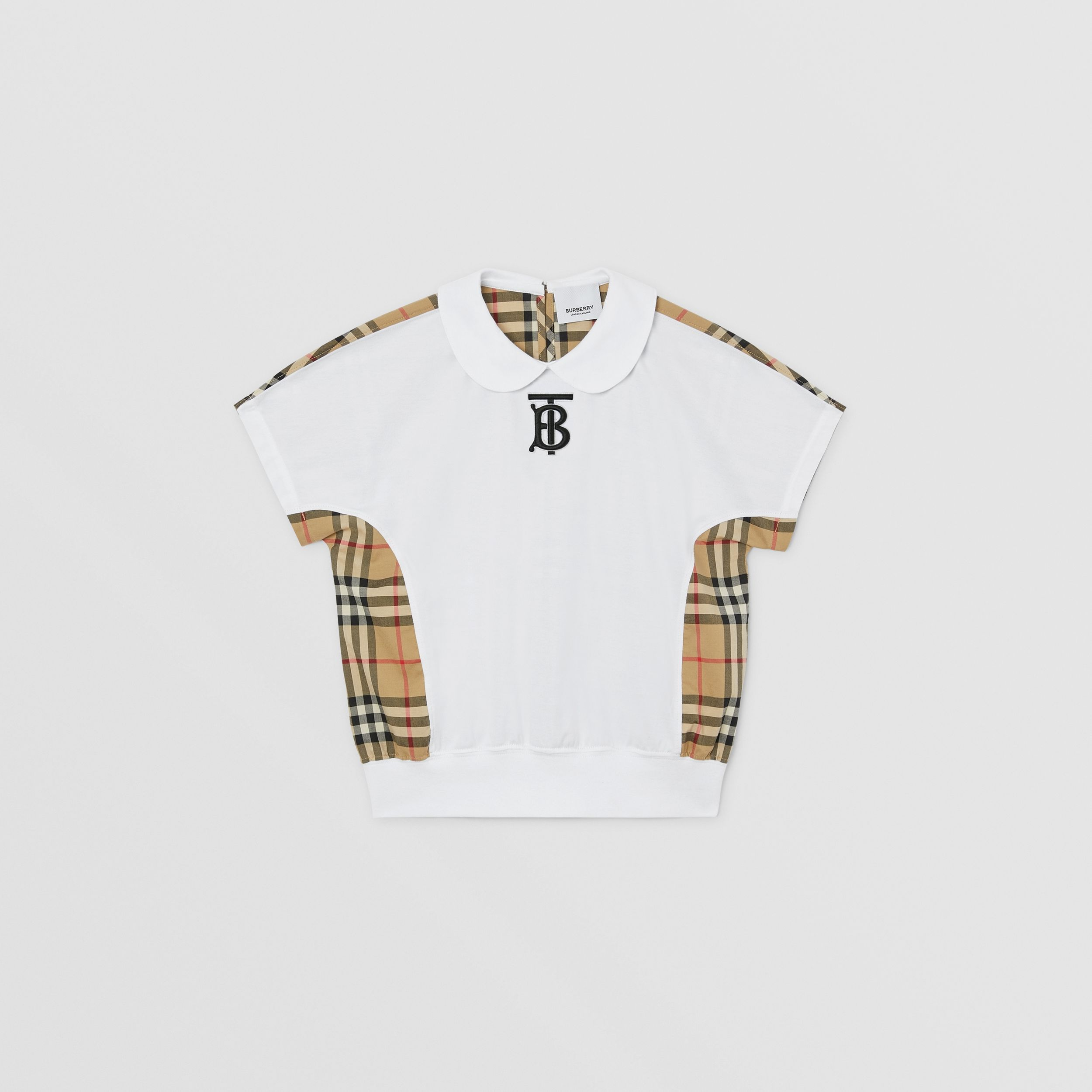 Monogram Motif Vintage Check Panel Cotton T-shirt in Archive Beige | Burberry - 1