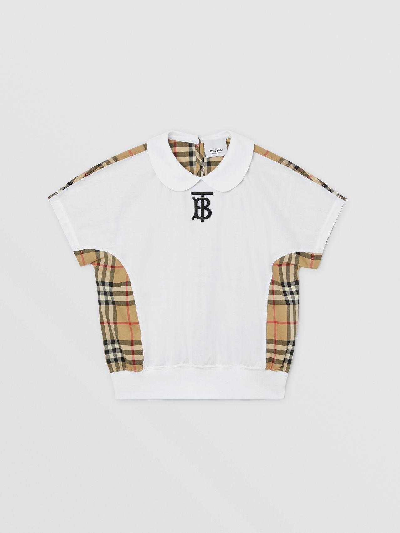Monogram Motif Vintage Check Panel Cotton T-shirt in Archive Beige