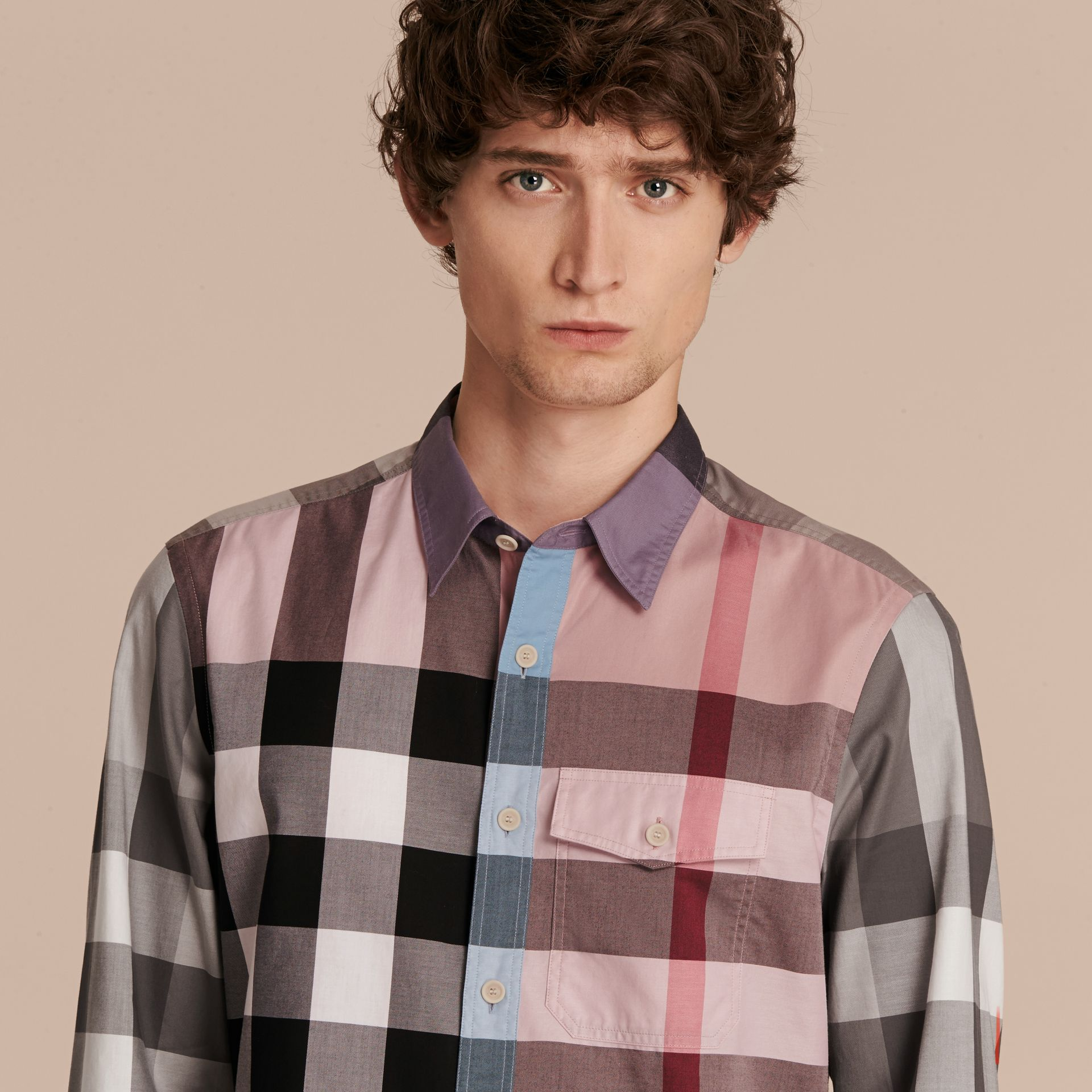 Ash rose Check Cotton Poplin Shirt Ash Rose - gallery image 5