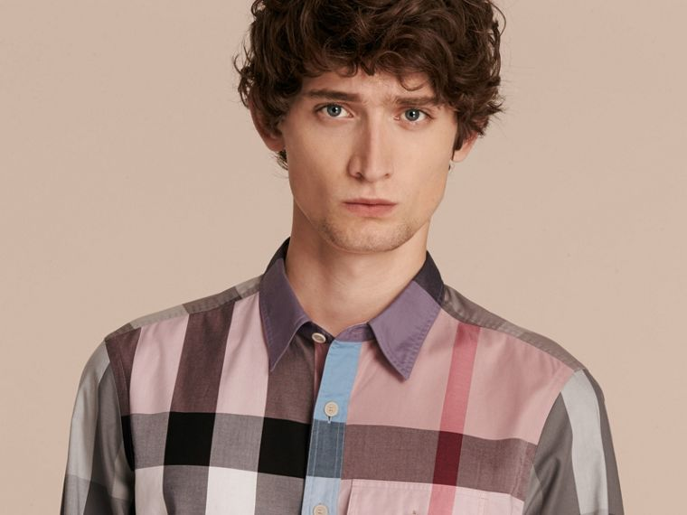 Check Cotton Poplin Shirt in Ash Rose - cell image 4