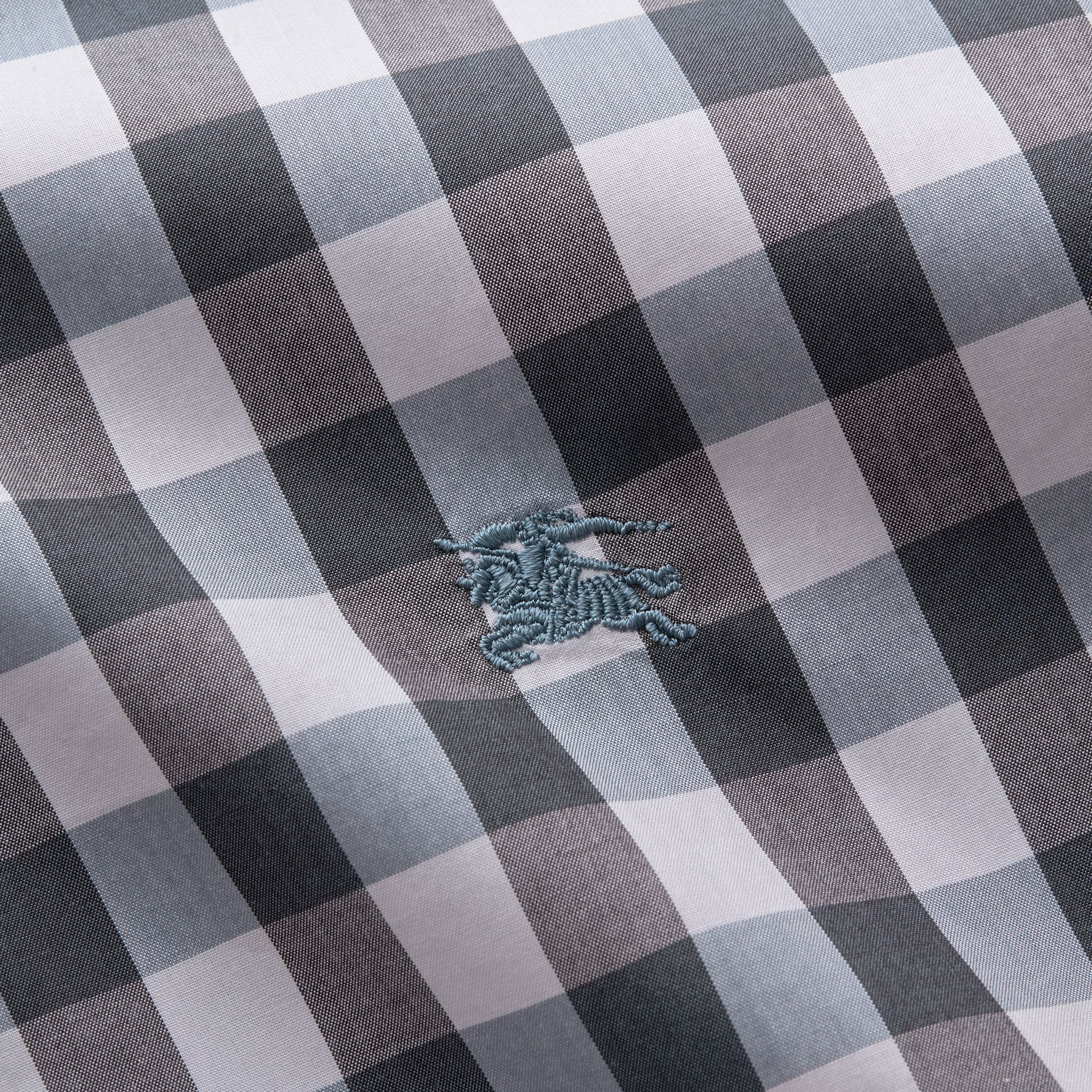Button-down Collar Gingham Cotton Shirt in Mineral Blue - gallery image 2