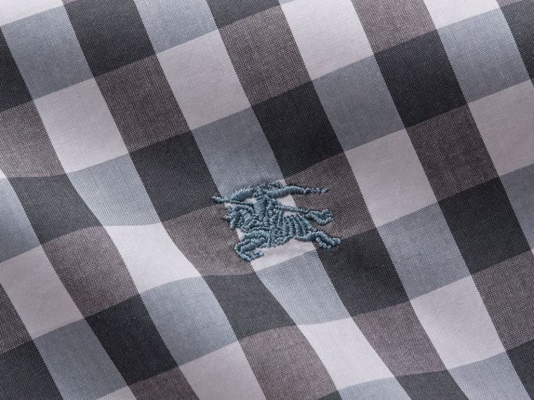 Button-down Collar Gingham Cotton Shirt in Mineral Blue - cell image 1