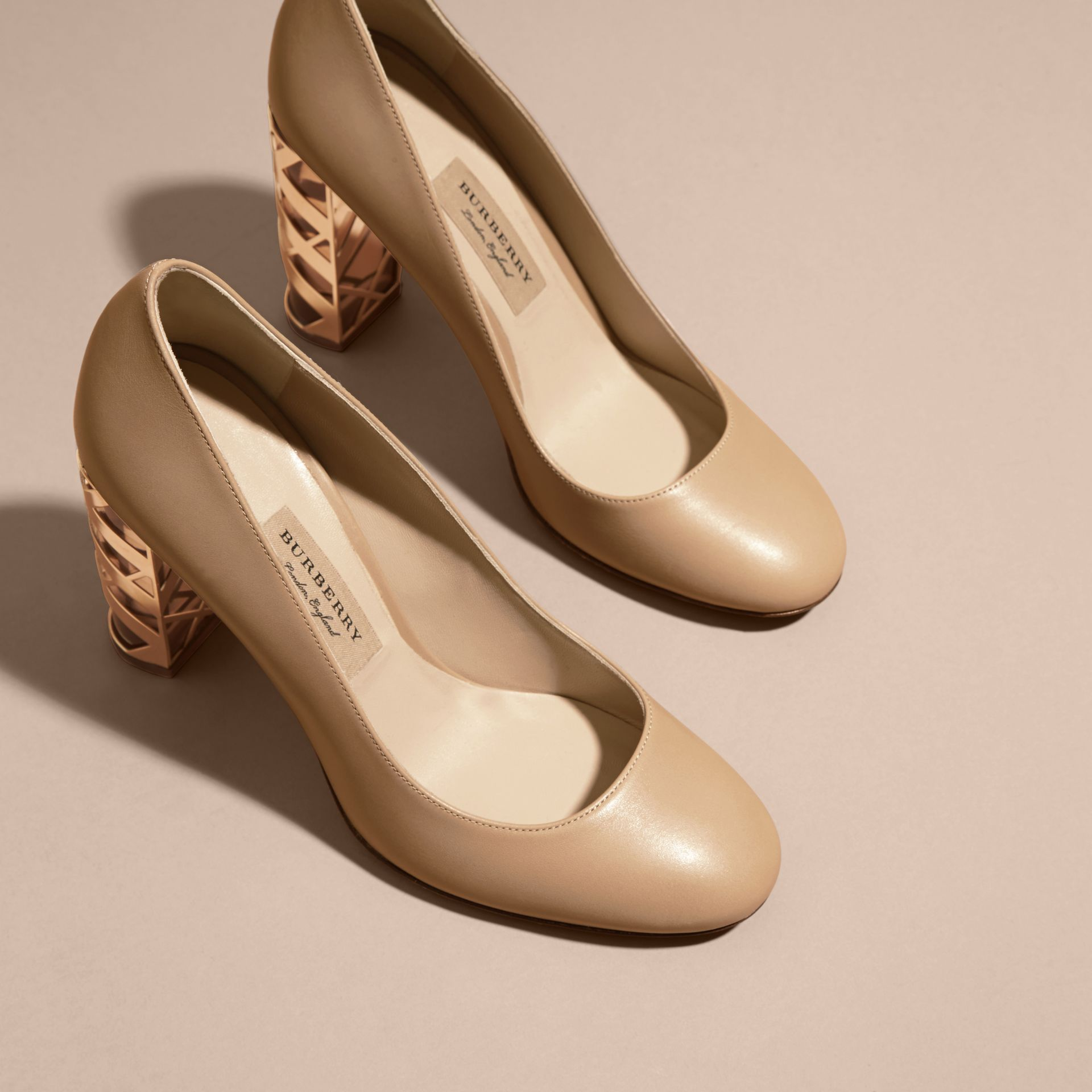 Light nude Check Heel Leather Pumps Light Nude - gallery image 3