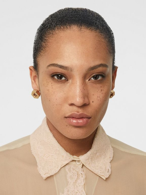 Lace Detail Silk Chiffon Shirt in Soft Peach - Women | Burberry - cell image 1