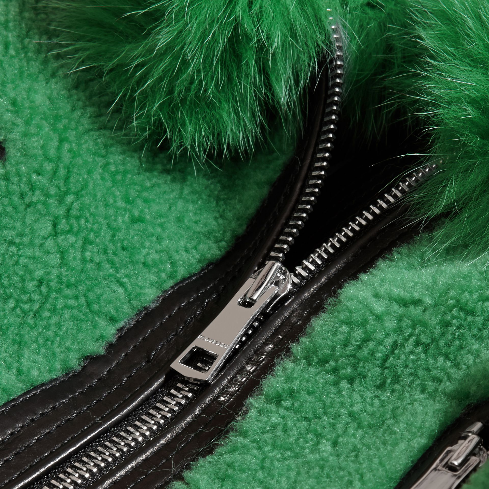Pigment green Fox-collar Shearling Jacket - gallery image 2