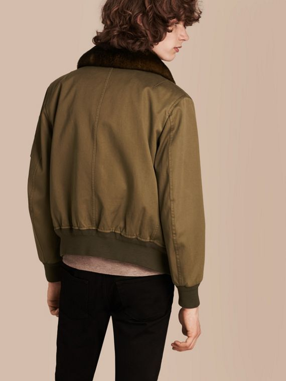 Olive green Cotton Bomber Jacket with Detachable Fur-lined Warmer - cell image 2
