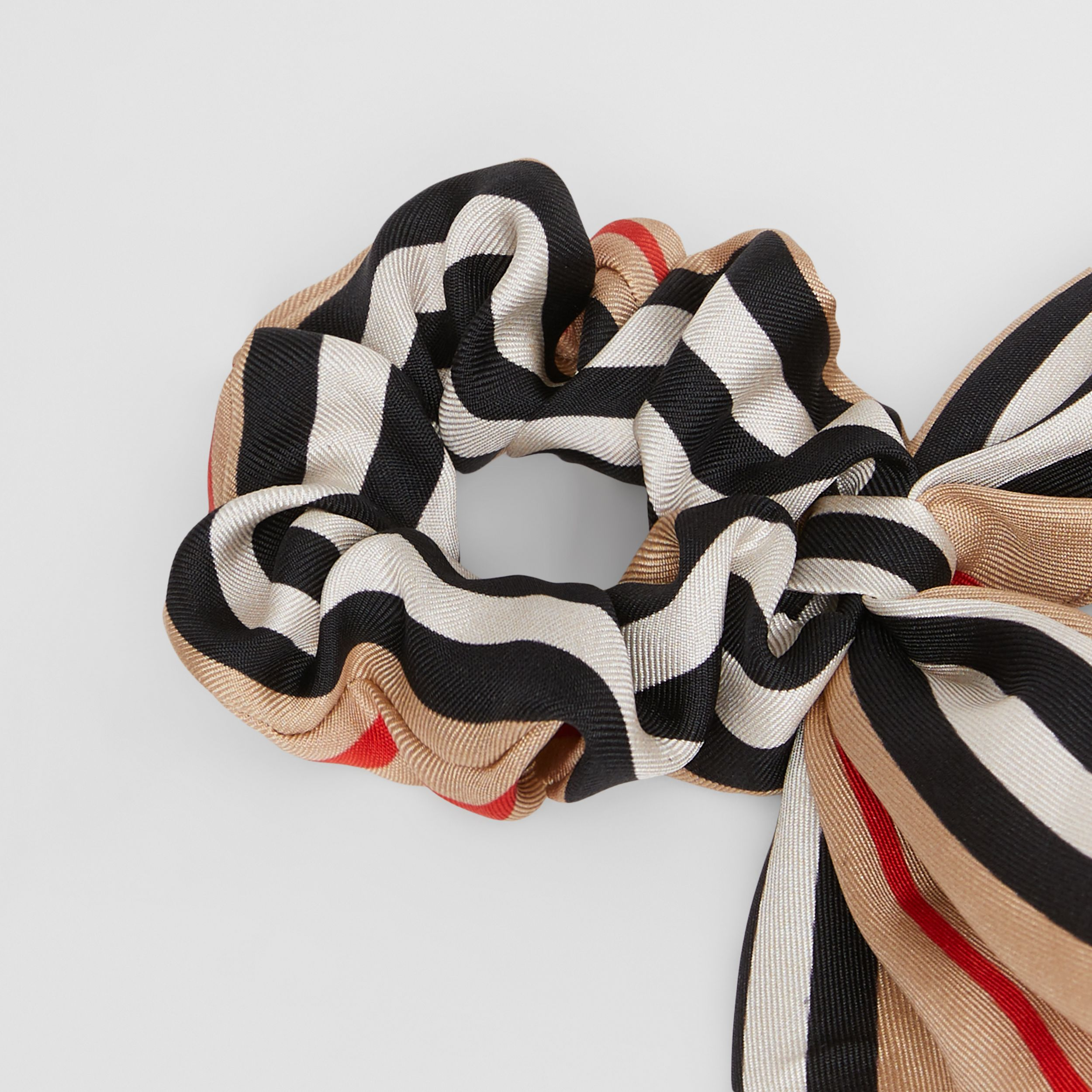 Icon Stripe Silk Twill Hair Tie in Archive Beige - Children | Burberry United Kingdom - 2