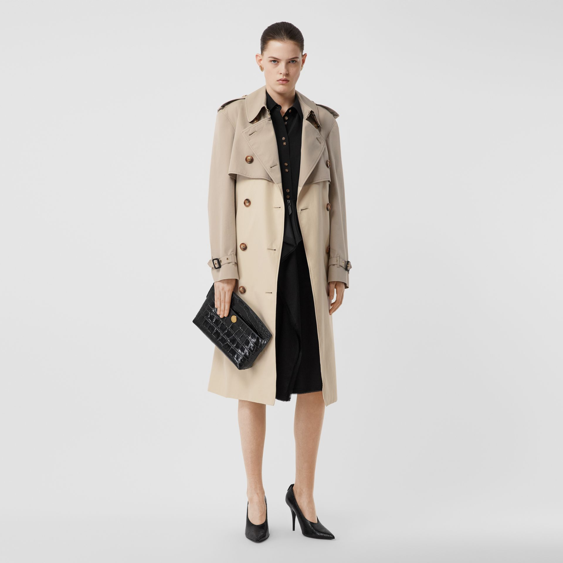 Two-tone Reconstructed Trench Coat in Light Sand - Women | Burberry - gallery image 5