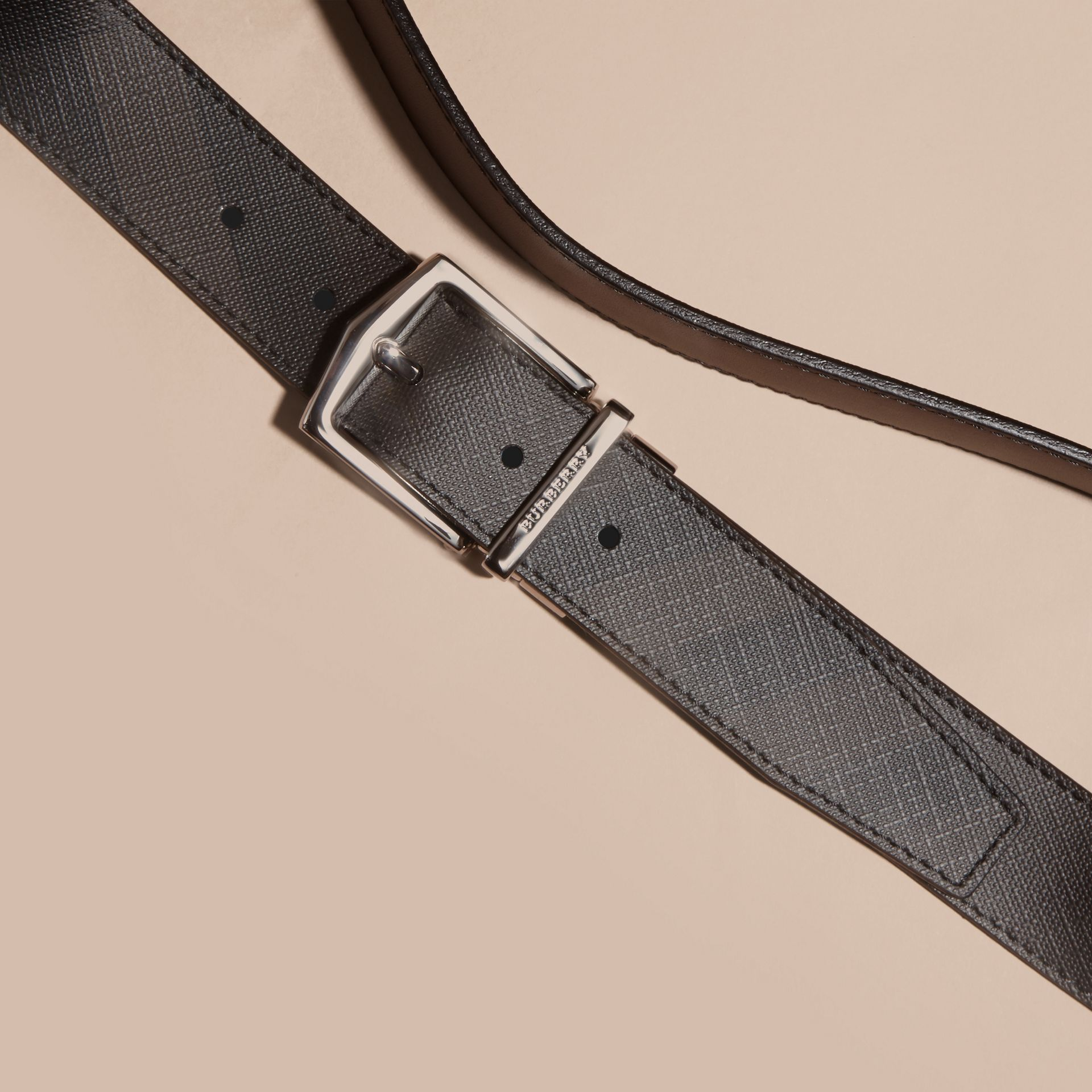 Black Reversible Smoked Check Leather Buckle Belt - gallery image 3