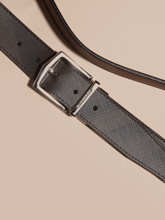 Reversible London Check and Leather Belt in Black - Men | Burberry Canada - cell image 2