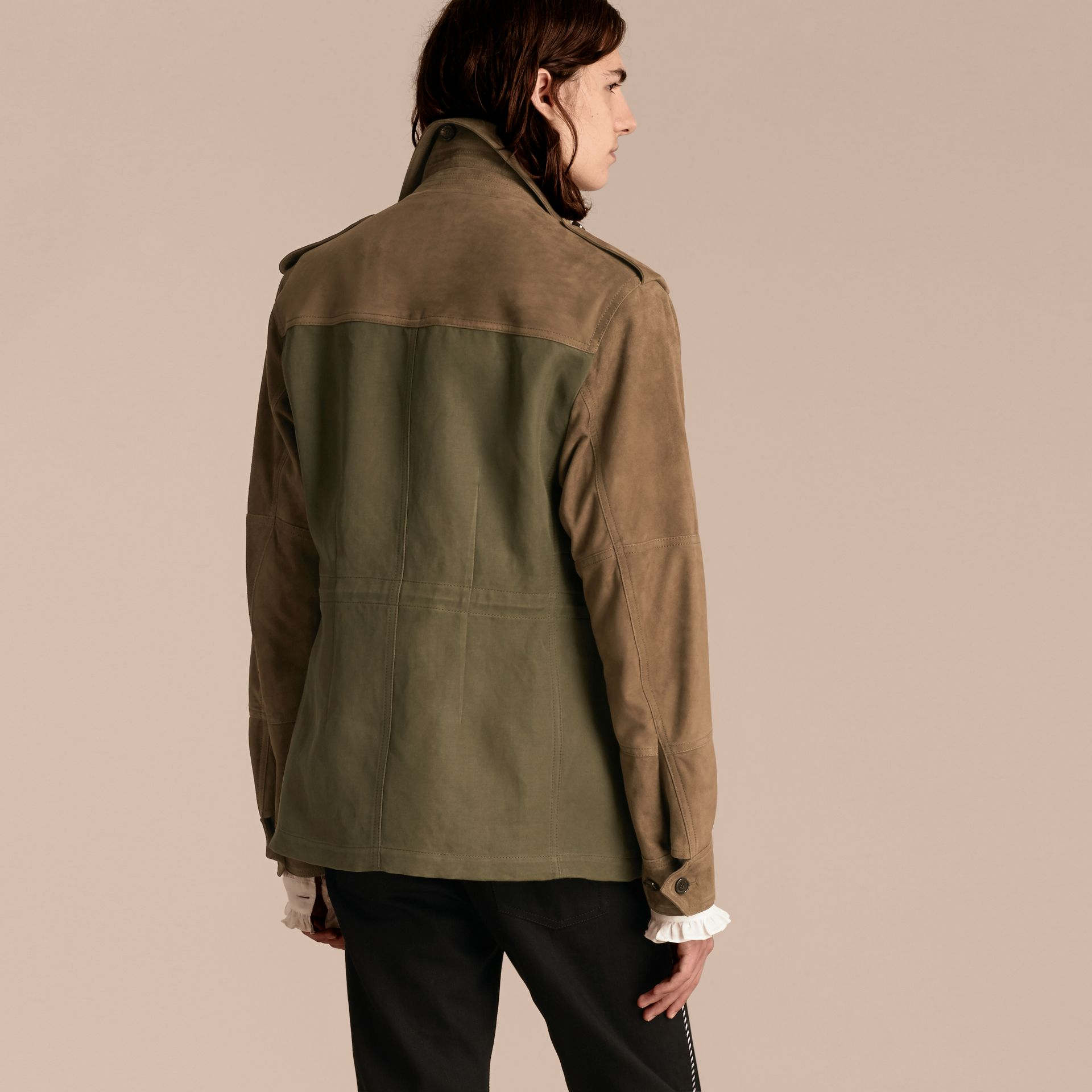 Military green Ramie Cotton and Suede Field Jacket - gallery image 3
