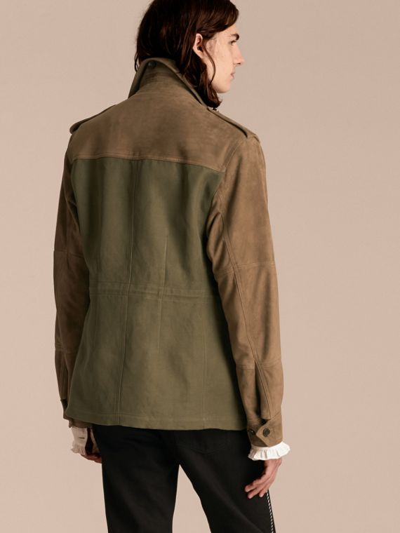 Military green Ramie Cotton and Suede Field Jacket - cell image 2