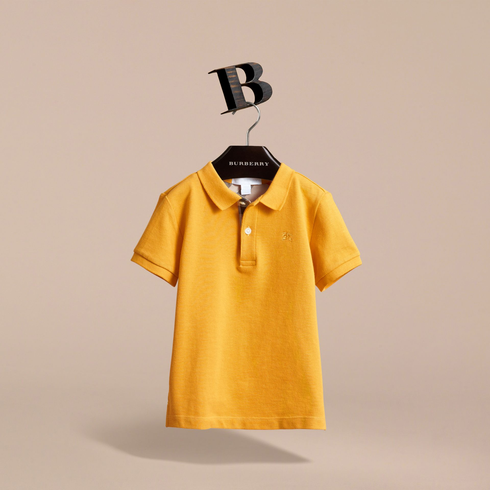 Check Placket Polo Shirt in Amber Yellow - Boy | Burberry - gallery image 3