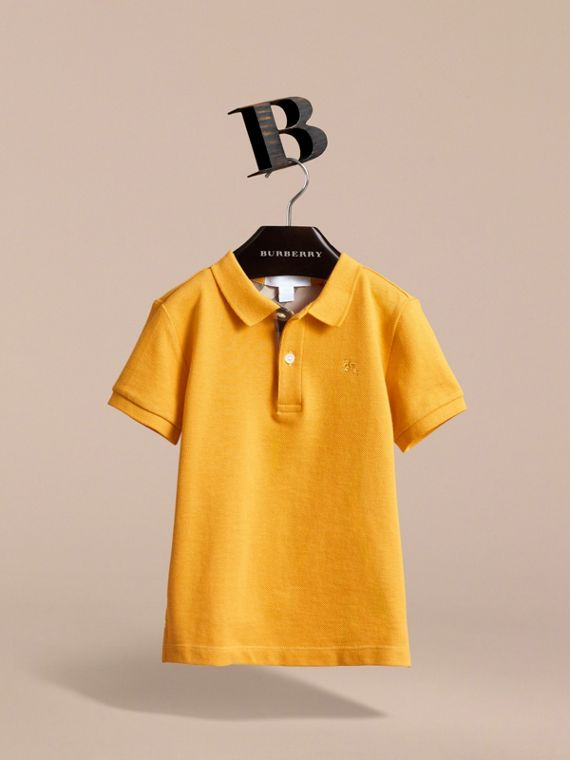 Check Placket Polo Shirt in Amber Yellow - Boy | Burberry - cell image 2