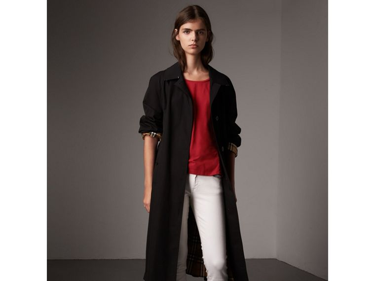 Check Cuff Stretch-Cotton Top in Lacquer Red - Women | Burberry - cell image 4