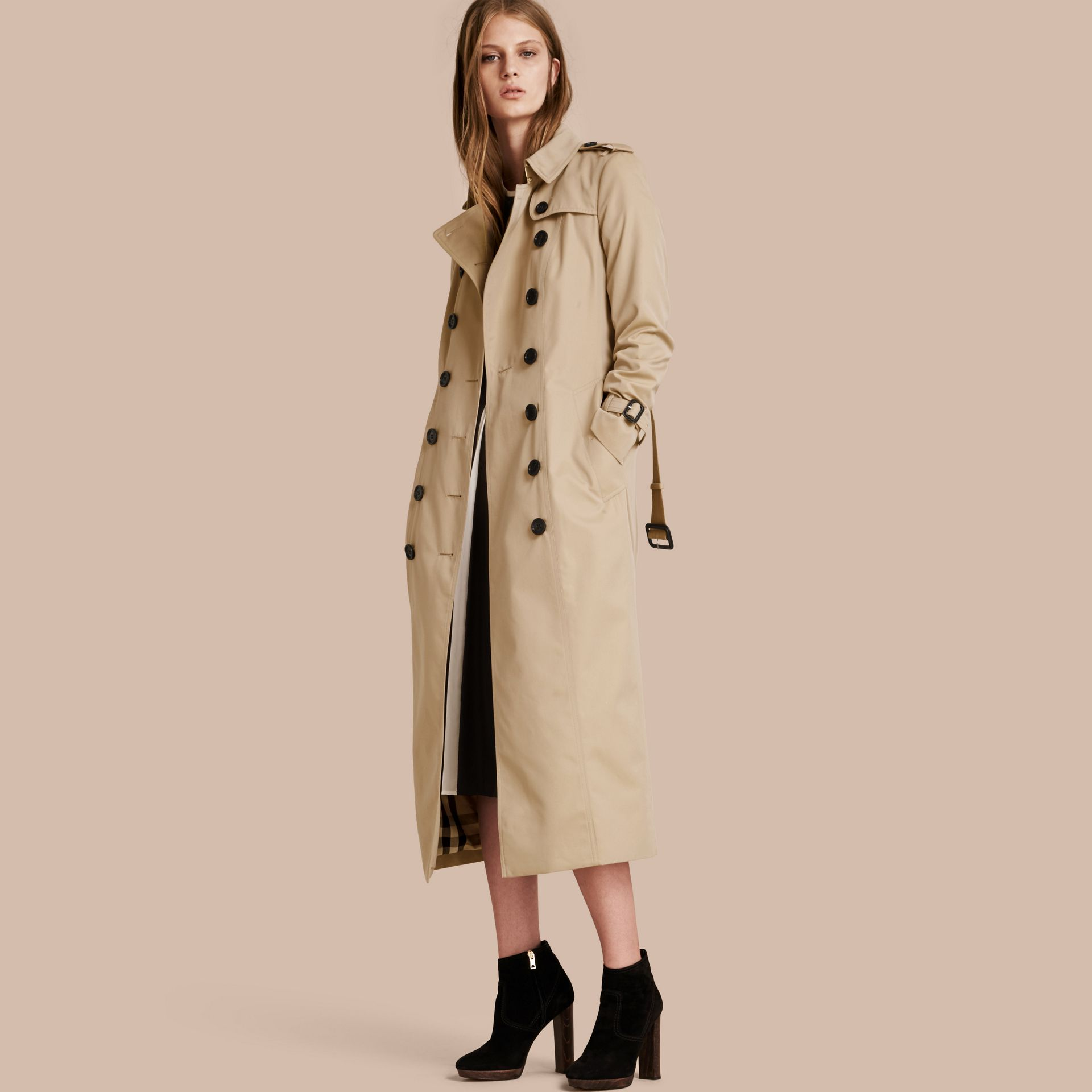 Long Cotton Gabardine Trench Coat - gallery image 1
