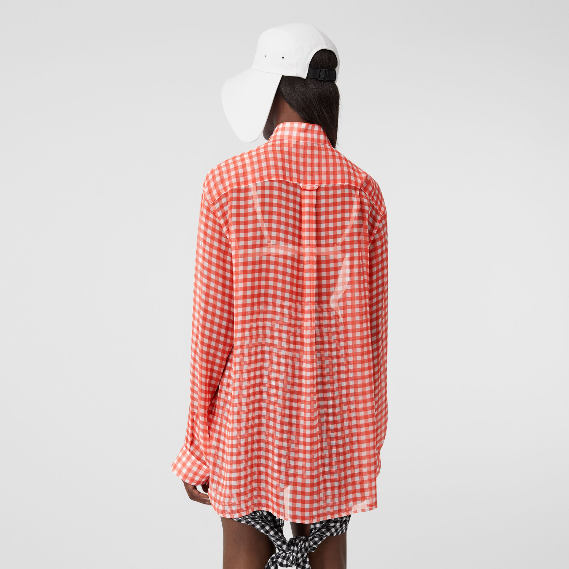 Gingham Silk Chiffon Pussy-bow Blouse in Red - Women | Burberry United Kingdom - gallery image 2